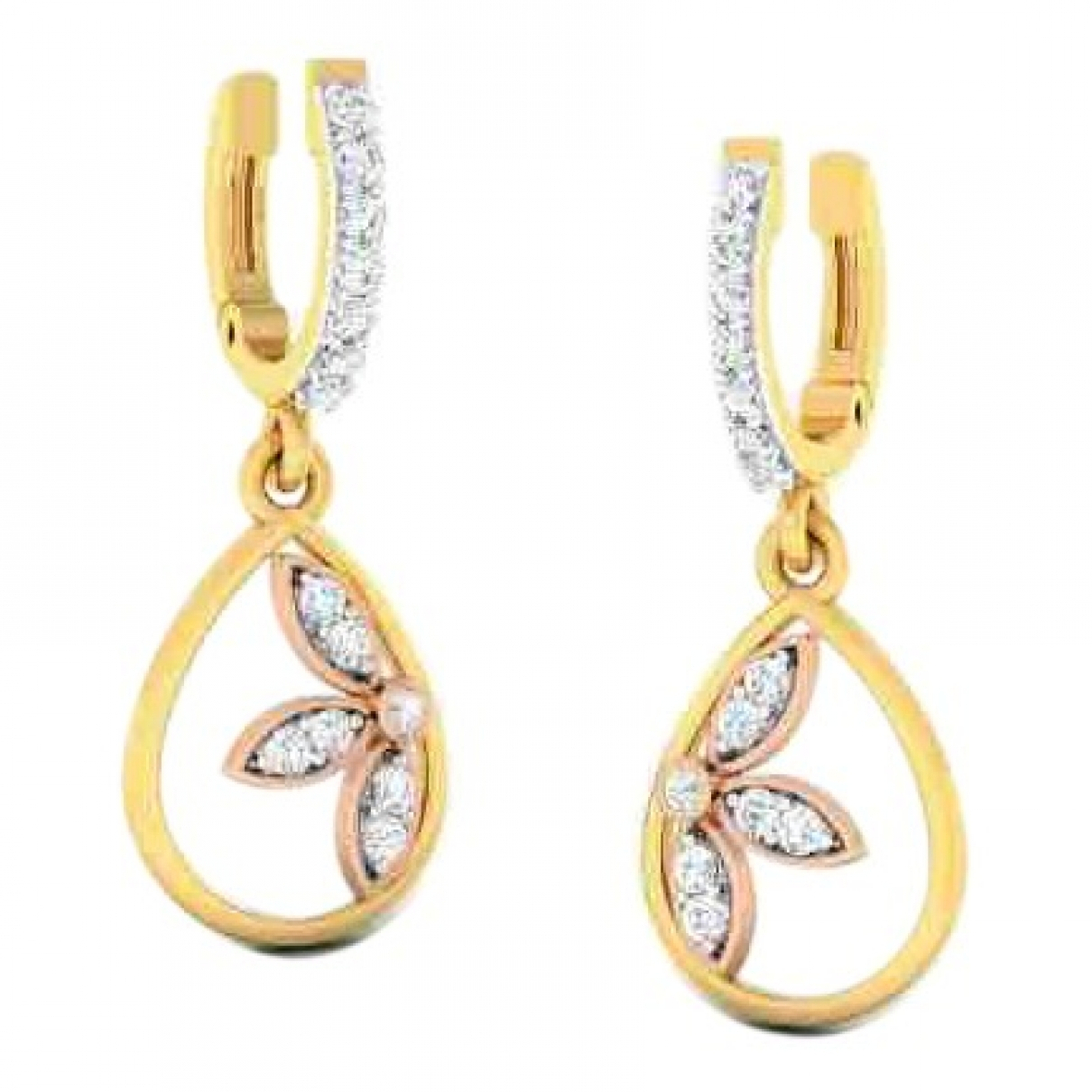 Non Signe / Unsigned Motifs Floraux OhrRing in  Gold Gelbgold