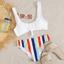 Colorful Striped Knot Front Bikini Swimsuit
