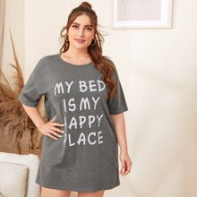 Plus Drop Shoulder Slogan Graphic Nightdress