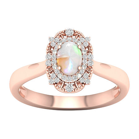 Womens Lab Created Opal 10K Rose Gold Over Silver Halo Cocktail Ring, 6 1/2 , No Color Family