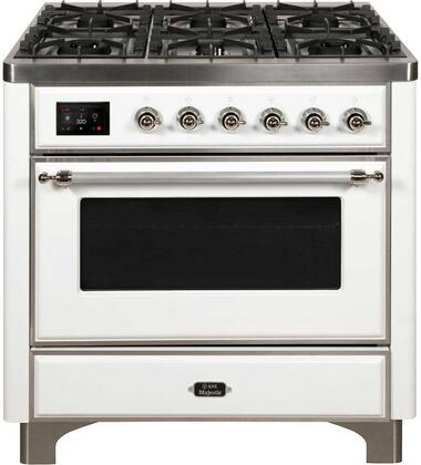 UM096DNS3WHC 36 Majestic II Series Dual Fuel Natural Gas Range with 6 Burners  3.5 cu. ft. Oven Capacity  TFT Oven Control Display  Chrome Trim  in