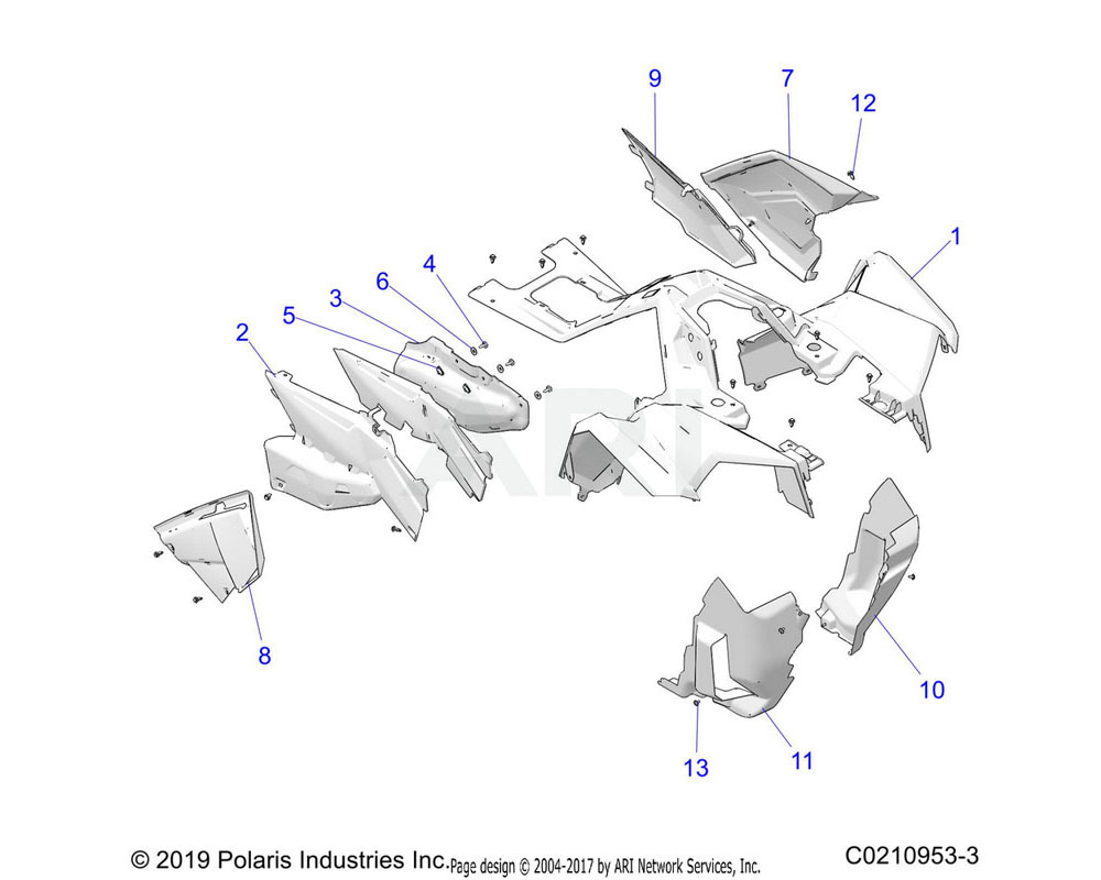 Polaris OEM 2637247-666 ASM-CAB, FR, SVC, PNT, BLK PRL | [INCL. WARNING DECALS]