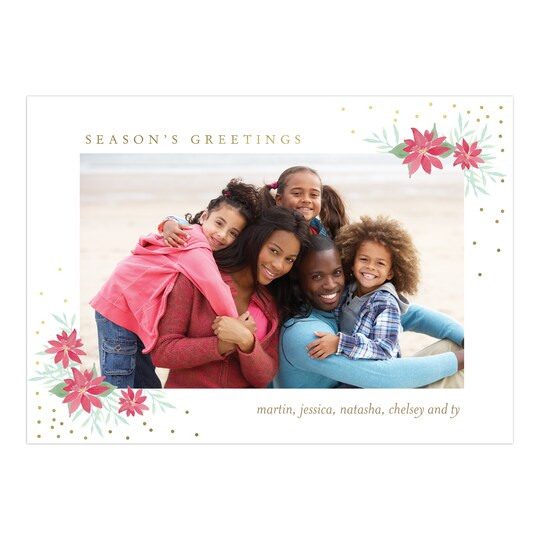 20 Pack of Gartner Studios® Personalized Poinsettia Greetings Flat Holiday Photo Card in White | 5