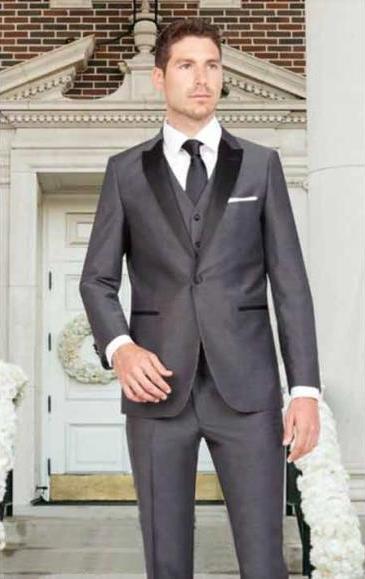 Men's Dark Gray Sharkskin Slim Fit 1 Button Satin Peak Vested Tuxedo