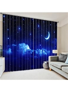 3D Printed Beautiful Moon Night Starry Sky Darkening Blackout Custom Curtains for Living Room Bedroom