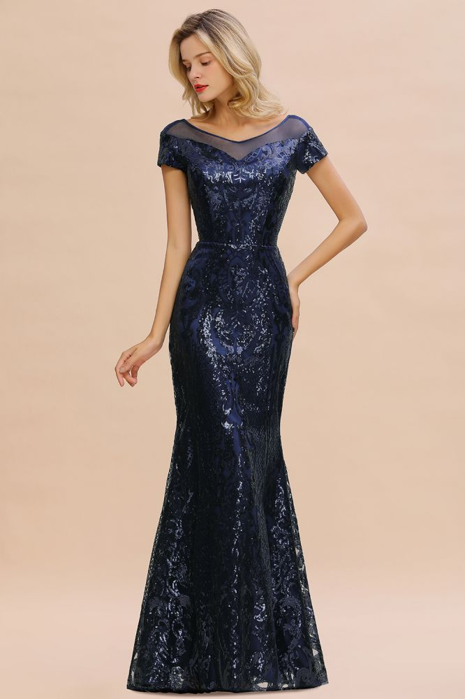 Helen| Long Sequined Cap sleeves Scoop neck Formal dress for Prom