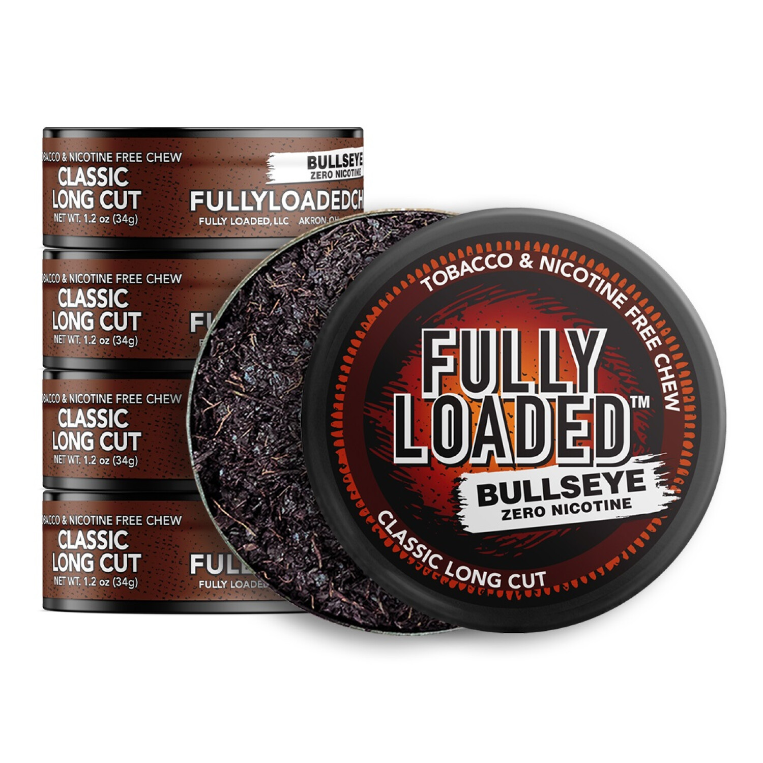 Fully Loaded Chew Tobacco and Nicotine Free Classic Bullseye Long Cut Signature Flavor, Chewing Alternative-5 Cans