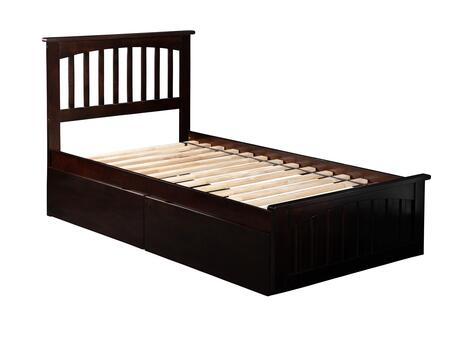Mission Collection AR8716111 Twin Extra Long Size Platform Bed with 2 Urban Bed Drawers  Matching Footboard  Hardwood Slat Kit and Eco-Friendly Solid