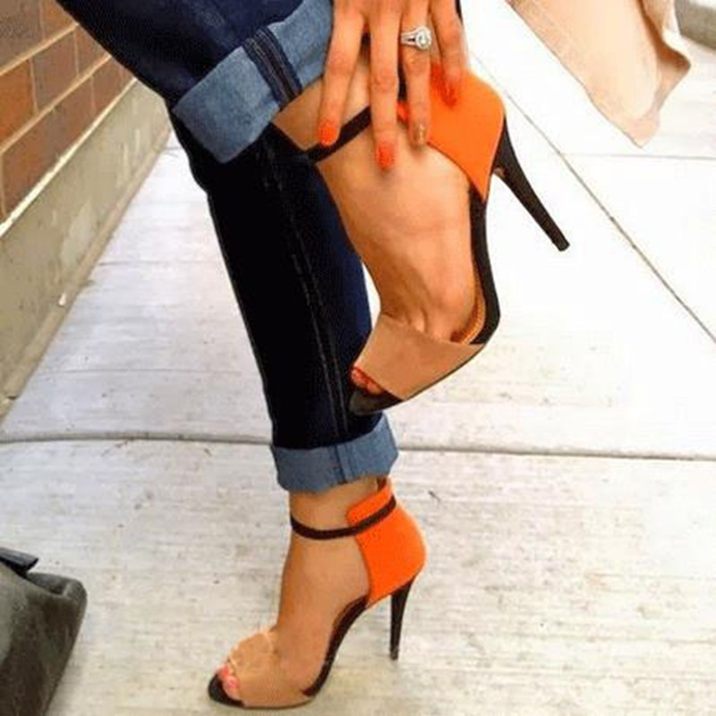 Ericdress Sling Back Patchwork Orange Stilettos Sandals