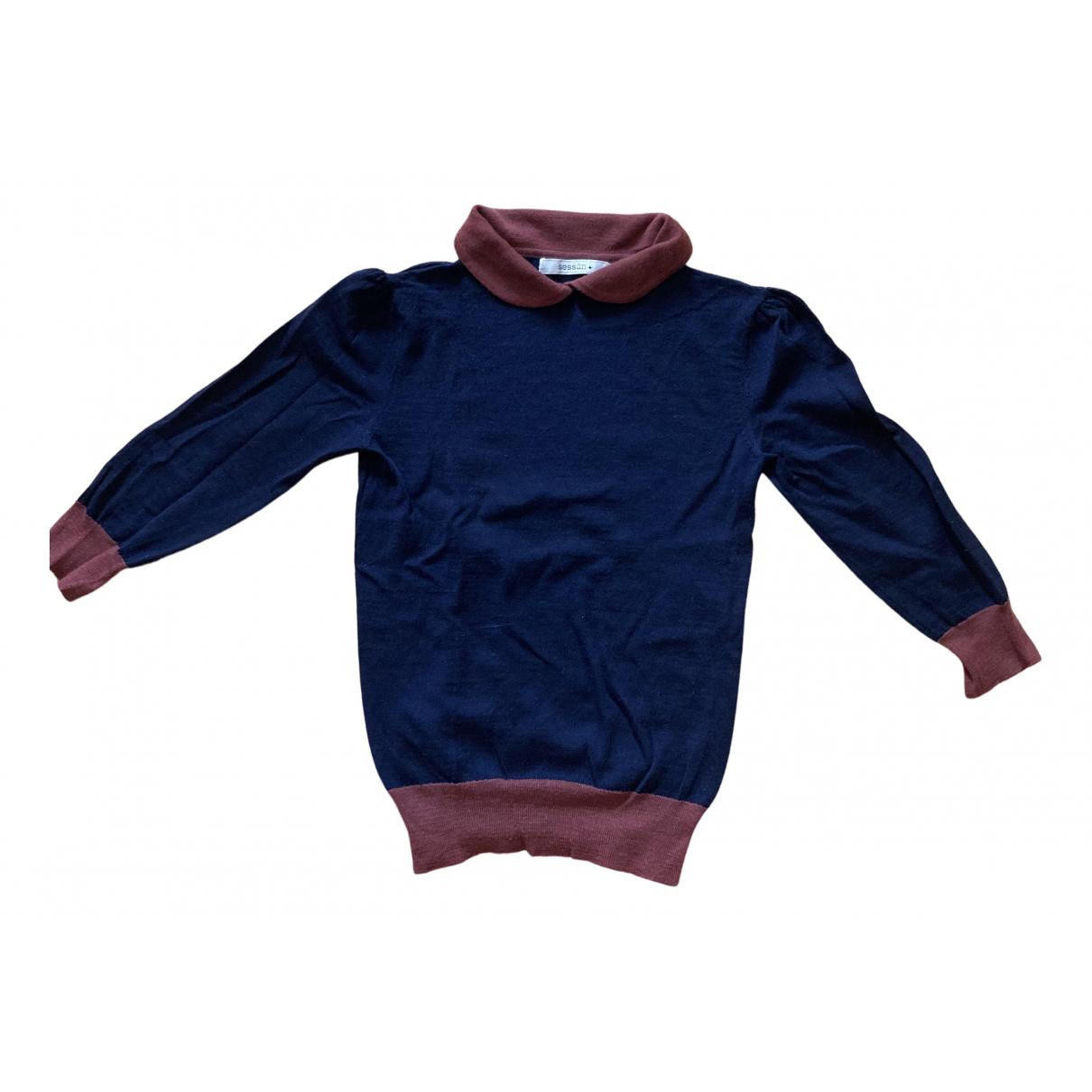 Sessun - Pull   pour femme en laine - bleu
