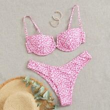 Bikini Badeanzug mit Leopard Muster, V Ausschnitt und Buegel