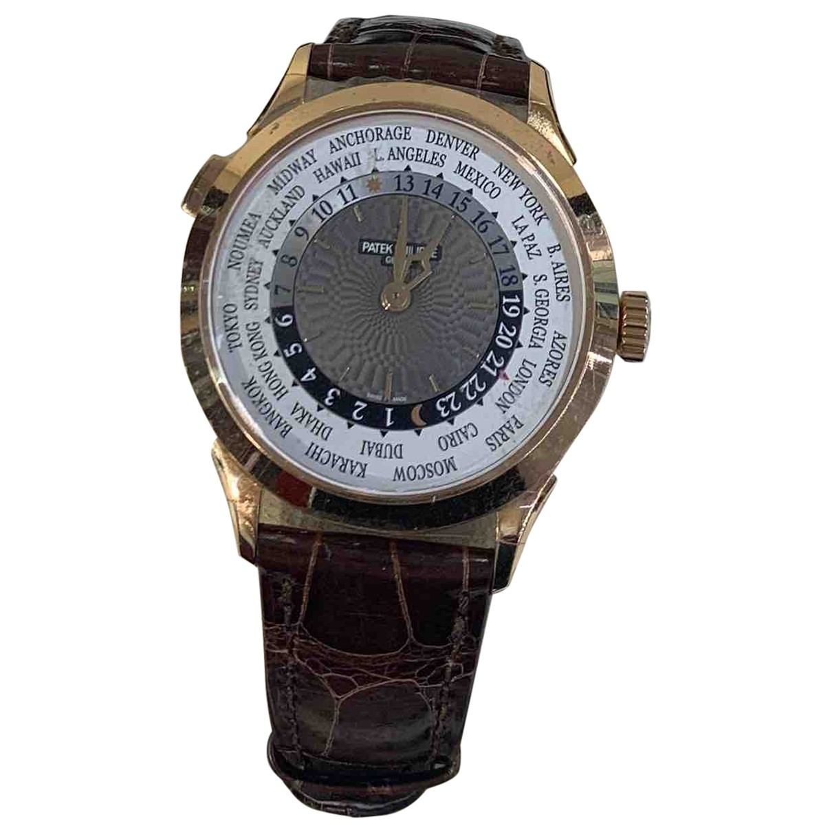 Patek Philippe World Time Brown Pink gold watch for Men \N