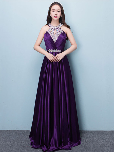Milanoo Prom Dresses Long Soft Pink Satin Evening Dress Halter Beading Pleated Floor Length Formal Party Dress