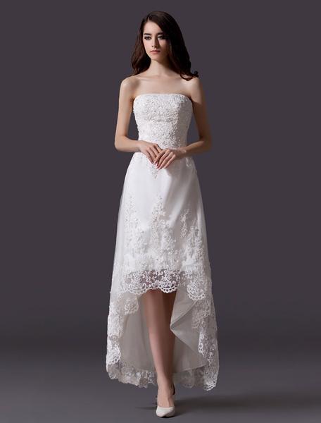 Milanoo Vestido de novia de tul con escote palabra de honor de cola asimetrica