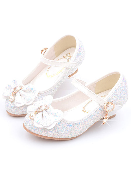 Milanoo Flower Girl Shoes Pink Sequined Cloth Bows Mary Jane Party Shoes For Kids