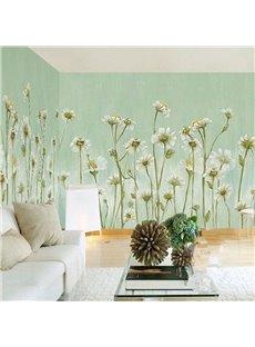 3D Flowers PVC Sturdy Waterproof Eco-friendly Self-Adhesive Light Green Wall Mural