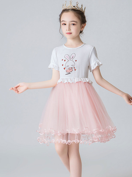 Milanoo Flower Girl Dresses Jewel Neck Short Sleeves Kids Social Party Dresses