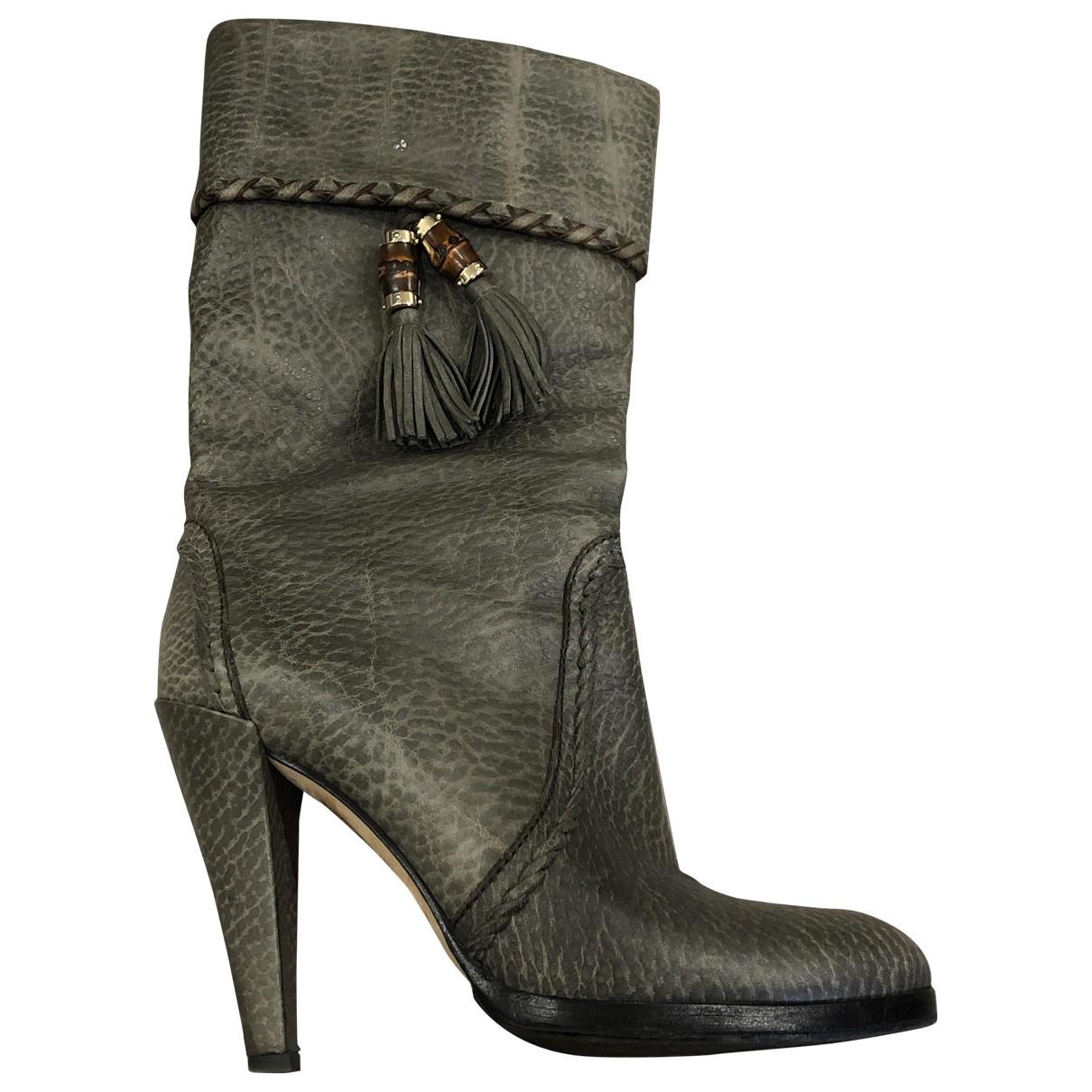 Gucci - Bottes   pour femme en cuir - gris