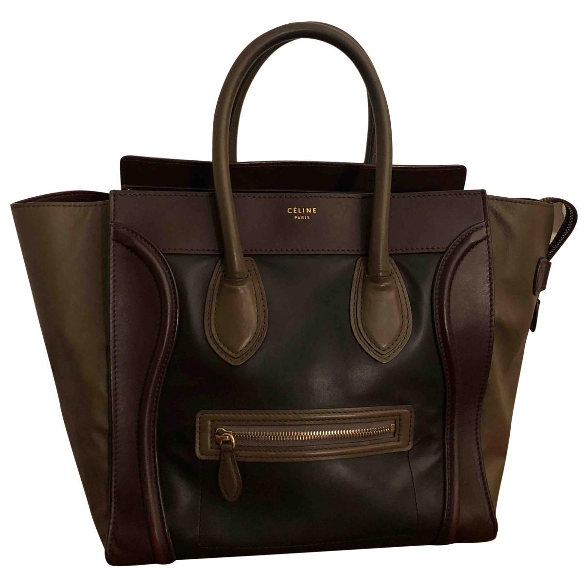 Celine - Sac a main Luggage pour femme en cuir - kaki