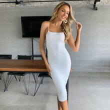 Solid Backless Ruched Dress