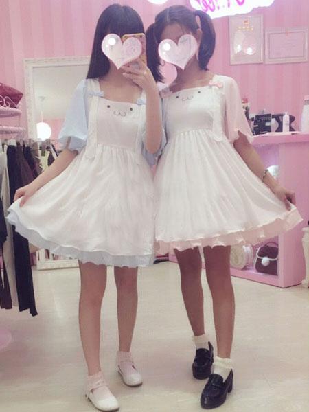 Milanoo Sweet Lolita OP Dress Bunny Print Ruffle Two Tone Pink Lolita One Piece Dress
