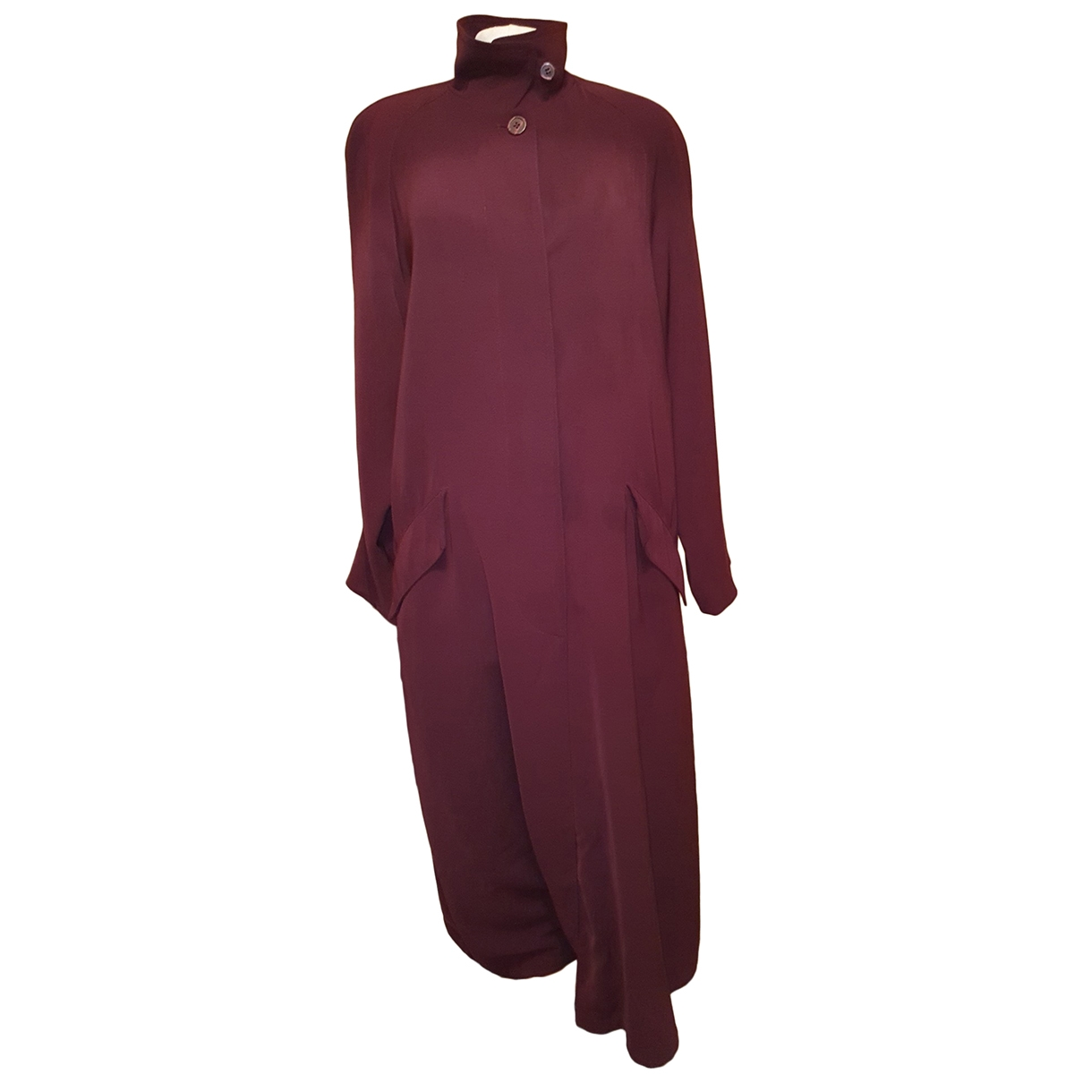 Non Signe / Unsigned \N Maentel in  Bordeauxrot Polyester