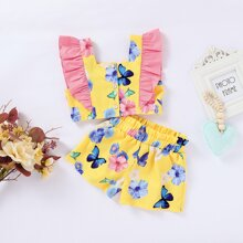 Toddler Girls Butterfly & Floral Print Ruffle Top With Shorts