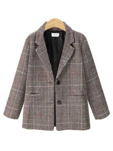 Milanoo Plaid Blazer Jacket Long Sleeve Buttons Suit Jacket For Women