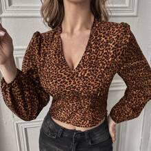 Blusas Fruncido Leopardo Elegante