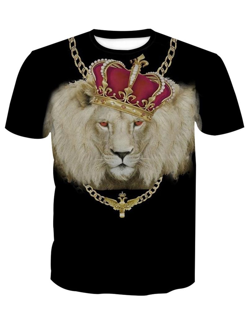 Ericdress Round Neck Fashion 3D Animal Mens Loose T-shirt