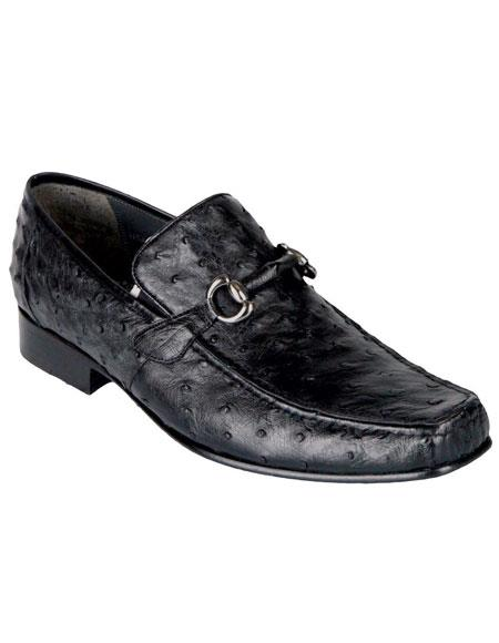 Mens Black Ostrich Los Altos Casual Slip On Loafer Style Dress Shoes