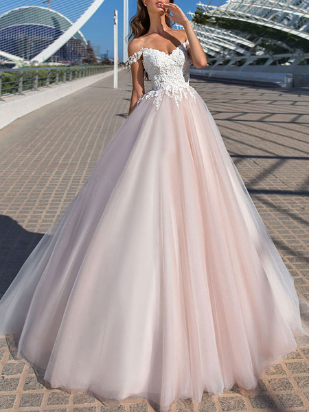 Milanoo Wedding Dress Princess Silhouette Court Train Off The Shoulder Sleeveless Natural Waist Lace Tulle Bridal Gowns