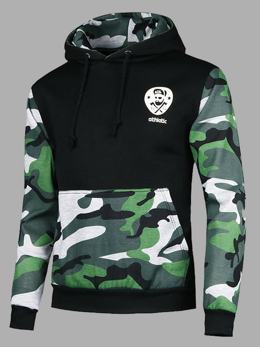 LW Lovely Casual Hooded Collar Camo Print Patchwork Black Men Hoodie