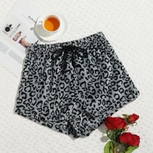 Leopard Drawstring Waist Teddy Lounge Shorts