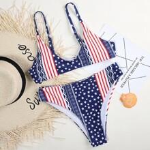 Bikini Badeanzug mit Stern & Streifen Muster und hoher Taille