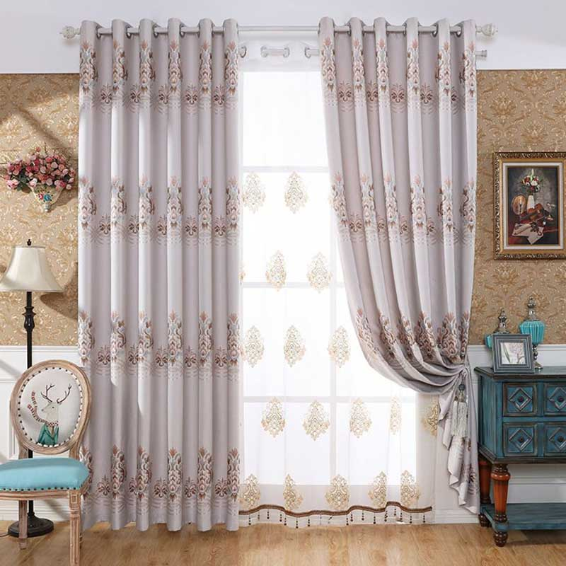 European Style High Quality Embroidered Floral Decorative Sheers