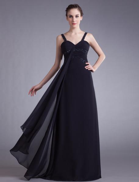 Milanoo Vestido de noche de chifon con escote en corazo y pedreria
