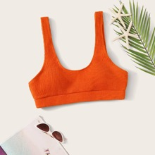Gerippter Bikini Top mit U-Kragen