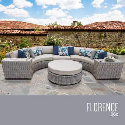 FLORENCE-06c-BEIGE Florence 6 Piece Outdoor Wicker Patio Furniture Set 06c with 2 Covers: Grey and