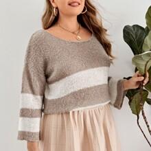 Pullover mit U Kragen und Streifen