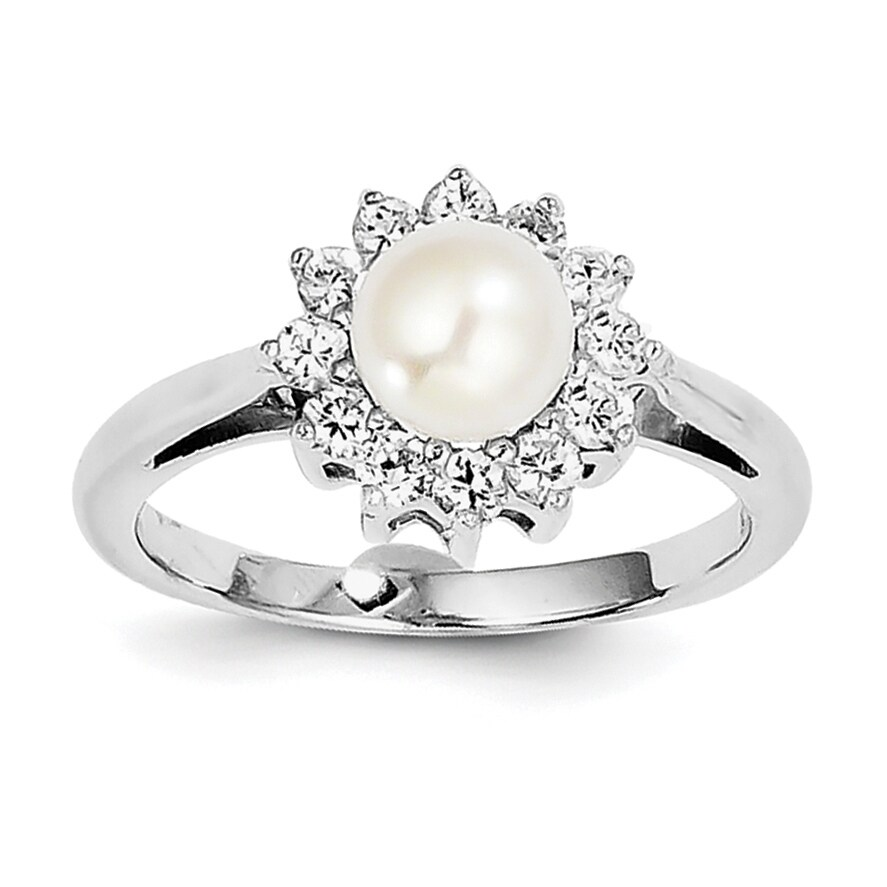 Sterling Silver Rhodium-plated Cubic Zirconia and Freshwater Cultured Pearl Ring by Versil (6)