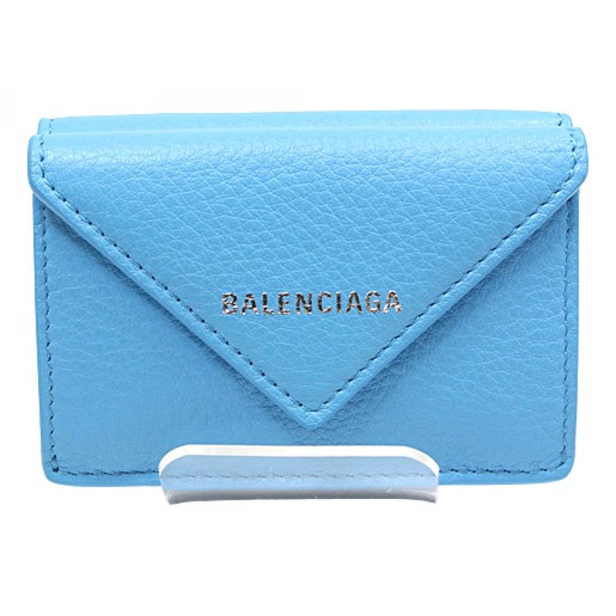 Balenciaga \N Portemonnaie in  Blau Leder