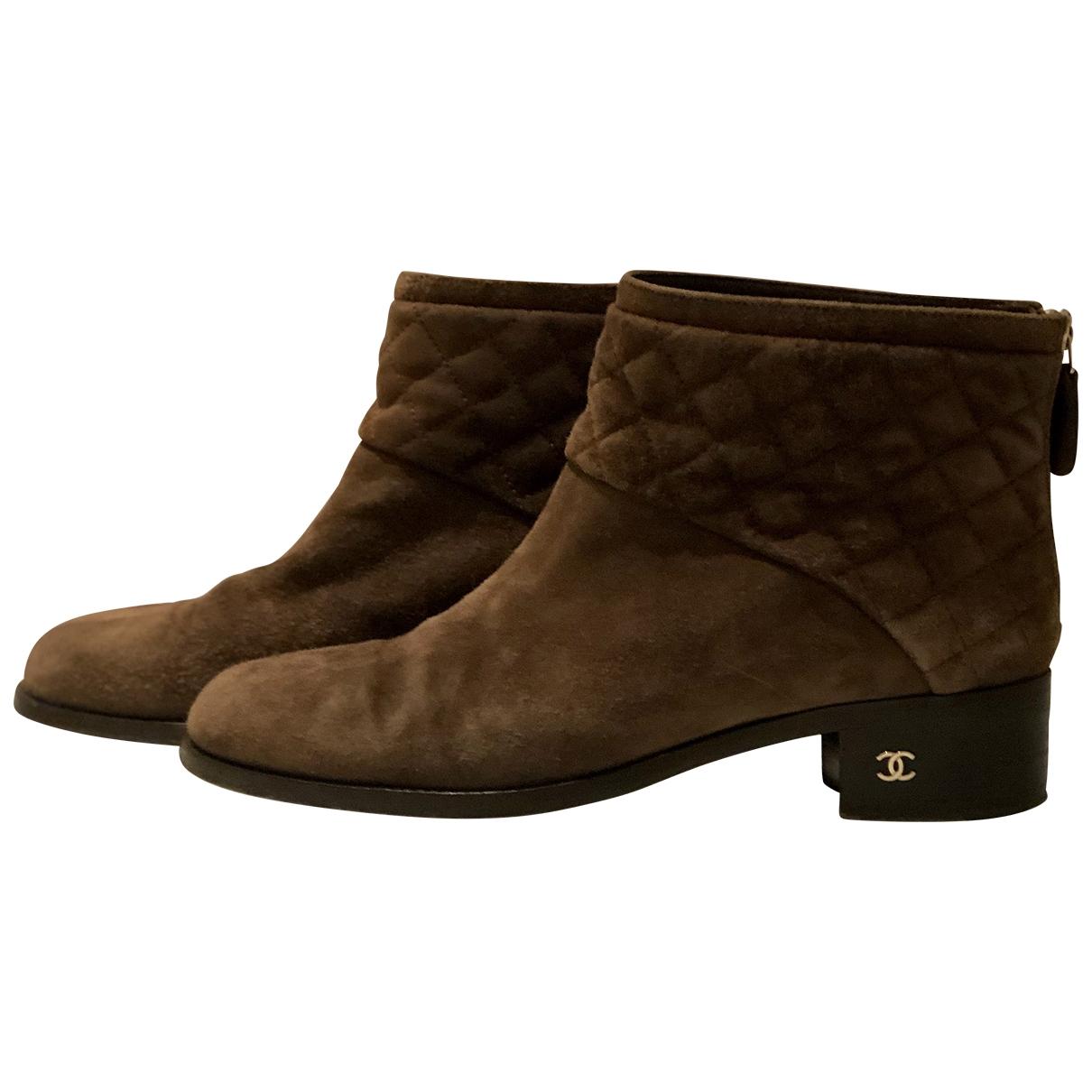 Chanel - Boots   pour femme en suede - marron