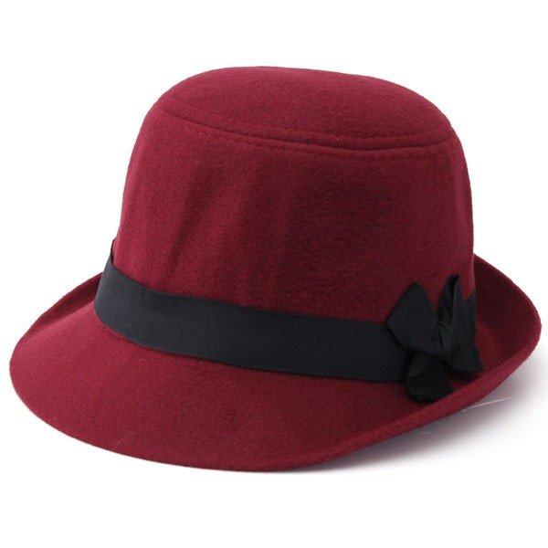 Elegant Artificial Wool FedoraTrilby Cloche Cap Cloche Floppy Felt Bowknot Hat