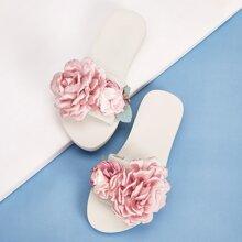 Open Toe Floral Applique Sliders