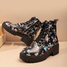 Allover Floral Graphic Lace-up Boots
