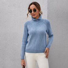 Button High Neck Raglan Sleeve Sweater