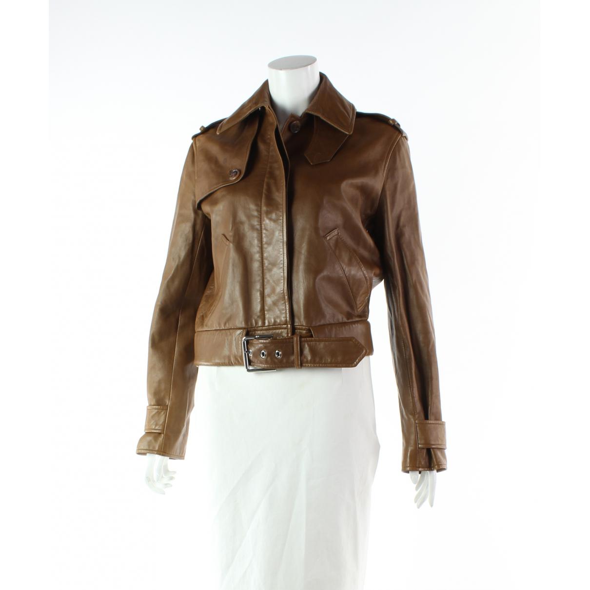 Ralph Lauren - Veste   pour femme en cuir - marron