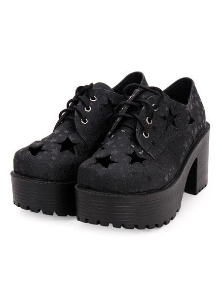 Milanoo Gothic Lolita Shoes Starlet Pattern Cut Out Lace Up Black Lolita Flatform Shoes