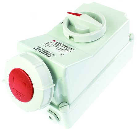 MENNEKES Switchable IP67 Industrial Interlock Socket 3P+E, Earthing Position 6h, 125A, 400 V, Red